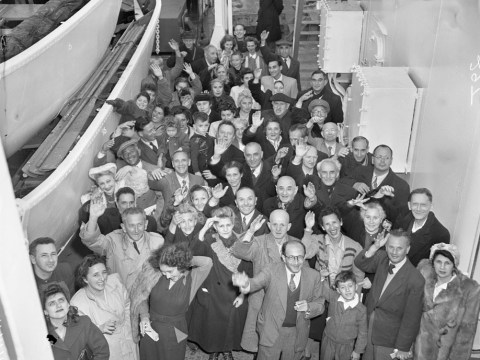 Jewish refugees arrive in San Francisco from Shanghai on the USS General M.C. Meigs, 1949 (Photo/Courtesy U.C. Berkeley Bancroft Library)