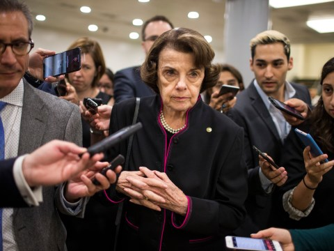 California Sen. Dianne Feinstein speaks to the media in Washington, D.C., Sept. 27, 2018. (Photo/JTA-Zach Gibson-Getty Images)