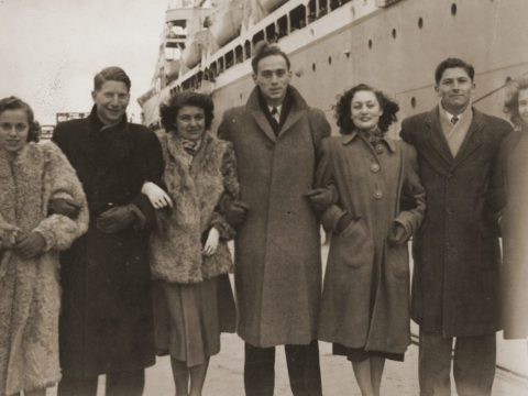 Jewish refugees arrive in San Francisco from Shanghai, 1949. Second from left: fashion designer Ilie Wacs, who later cowrote a book about the Shanghai Jews (Photo/United States Holocaust Memorial Museum, courtesy of Ilie Wacs)