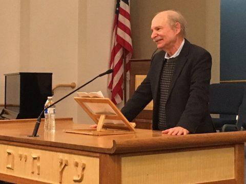 Fred Rosenbaum speaks to audience at Congregation B'nai Tikvah in Walnut Creek on Nov. 10. (Photo/Dan Pine)