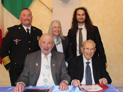 Matt Epstein (back left) stands with Lori Starr and Adam Swig, all honored by the Irish-Israelite-Italian Society of San Francisco. Seated from left, society co-president Quentin Kopp and secretary John Shimmon.