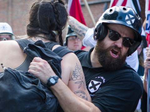 Protesters and counterprotesters clash during the Unite the Right rally in Charlottesville, Virginia, Aug. 12, 2017. (Photo/JTA-Calla Kessler-The Washington Post via Getty Images)