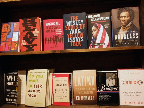 Manny's is also something of a community library, with bookshelves containing a wide variety of progressive works. (Photo/David A.M. Wilensky)