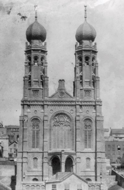 """The original building of San Francisco's Congregation Emanu-El was an example of what some have called the """"meshugothic"""" style."""