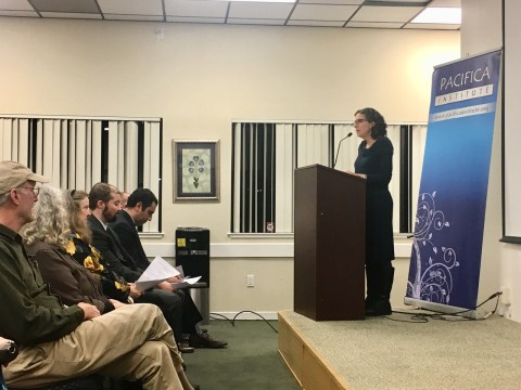 Rabbi Chai Levy of Congregation Netivot Shalom in Berkeley speaks at an interfaith vigil for the victims of the mosque shootings in New Zealand at Pacifica Institute in Albany, March 16, 2019 (Photo/Dan Pine)