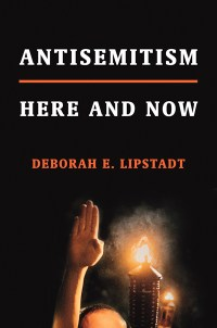 "cover art for ""Anti-Semitism: Here and Now"" features the top of a burning tiki torch and hand raised high, like a Nazi salute"