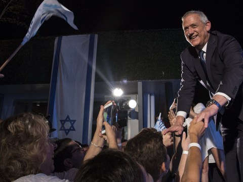 Benny Gantz, leader of Blue and White party, greets supporters after speaking at a campaign rally in Tel Aviv, Israel, April 7, 2019. (Photo/JTA-Amir Levy-Getty Images)