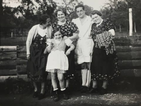 Newman with her mother, grandmother and other family members in Austria