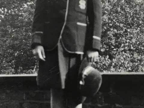 Newman in her convent school uniform in England during the war years