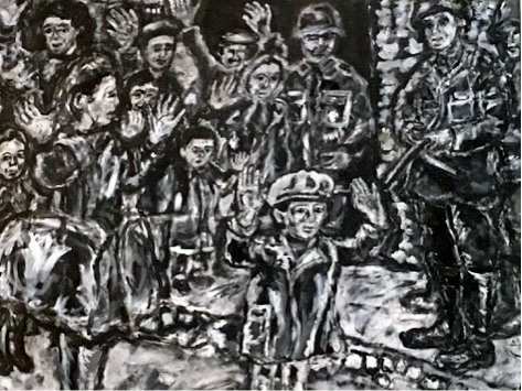 """A young boy with his hands up"" by Larry Lagin, based on U.S. Holocaust Memorial Museum photo #26543A"