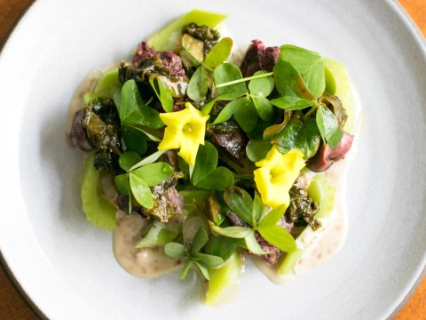 Grilled chicken livers with wood sorrel and sesame (Photo/Isabel Baer)
