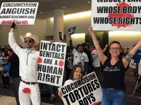 """Of course, the anti-circumcision """"intactivists"""" were there (Photo/Dan Pine)"""