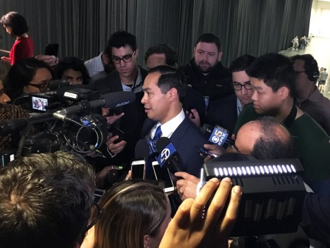 Julián Castro speaks to reporters at the California Democratic Party convention at the Moscone Center in San Francisco, May 31-June 2, 2019. (Photo/Dan Pine)