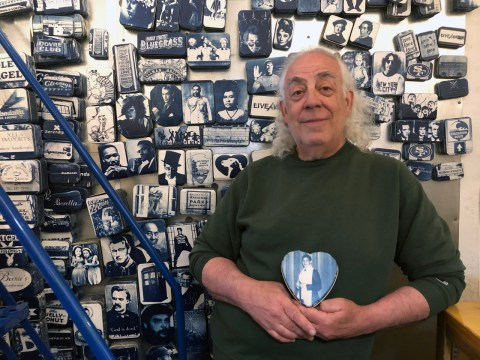 Jack Epstein, owner of Chocolate Covered, with a cyanotype photo of his bar mitvzah imprinted on a metal box (Photo/Alix Wall)