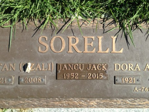 Dora Sorell's gravestone displays the number tattooed on her arm at Auschwitz.