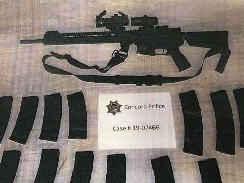 Illegally assembled AR-15-style assault rifle and ammunition magazines recovered during a search of Ross Farca's Concord home. (Photo/Concord Police Department)