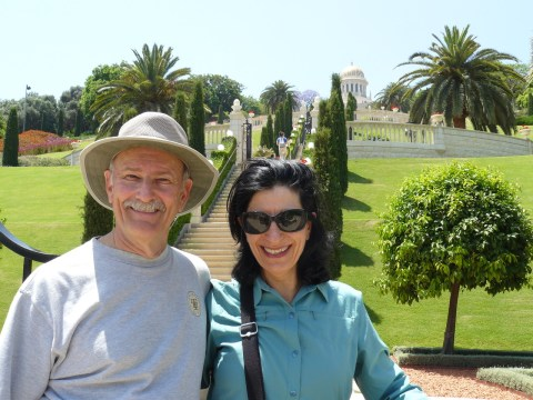 Janice Brenner and Stephen Farber at the Bahai Gardens in Haifa, Israel, in 2017