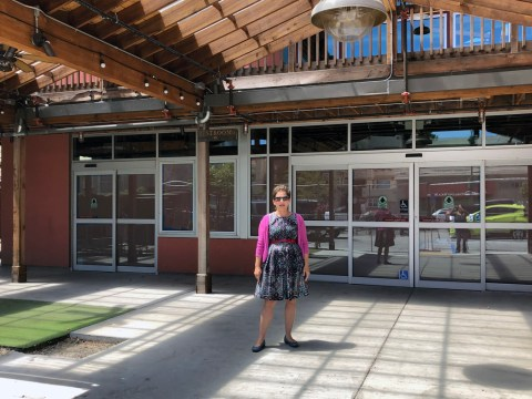 Mica Talmor in front of the Piedmont Ave. location of her forthcoming venture, Pomella (Photo/Alix Wall)