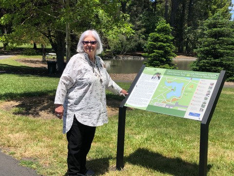 Helena Foster at the Erna and Arthur Salm Holocaust and Genocide Memorial Grove at Sonoma State University