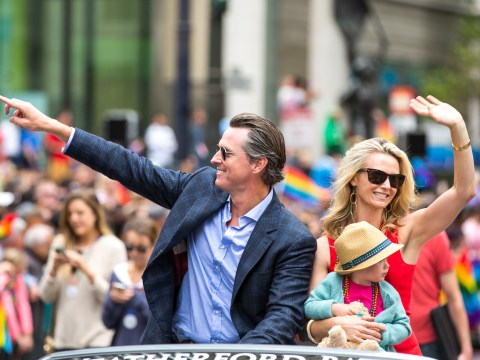 Then-Lt. Gov. Gavin Newsom at San Francisco Pride in 2015 (Photo/Flickr-Thomas Hawk)