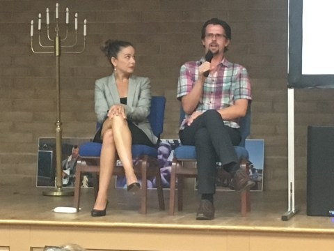 (Right) Matthew Mason with public defender and panelist Laura Arnold. (Photo/Gabe Stutman)