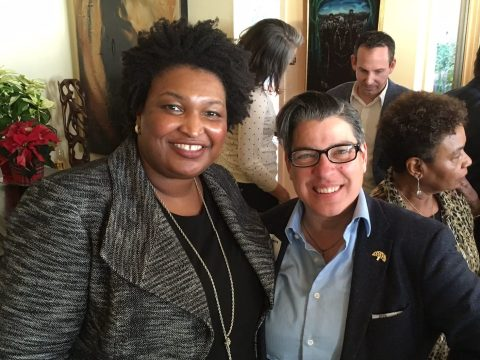 Rebecca Kaplan with Stacey Abrams in spring 2018, when she was running for governor of Georgia (Photos/Rebecca Kaplan-Facebook)
