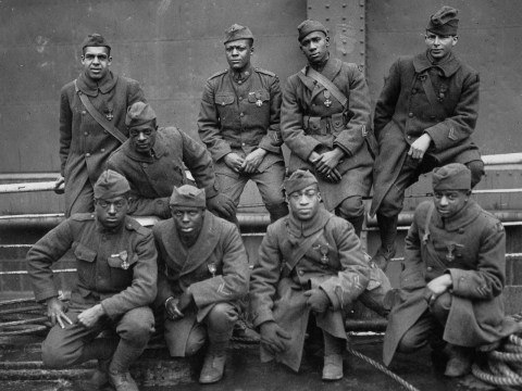 Black American soldiers of the 369th Infantry Regiment in 1919. The unit, which was also known as the Harlem Hellfighters, was a segregated unit of primarily black soldiers, as well as some Puerto Rican soldiers. (Photo/U.S. National Archives)