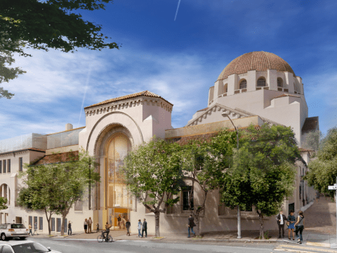 """This rendering of the planned remodeling of Congregation Emanu-El in San Francisco shows the restored and updated main entrance (center) and additional classrooms on top of the """"Temple House"""" wing (left) /Rendering courtesy of Mark Cavagnero Associates"""