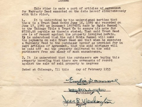 The restrictive covenant Robin Washington's parents signed for the purchase of their home in February 1953 (Photo/Courtesy Robin Washington)