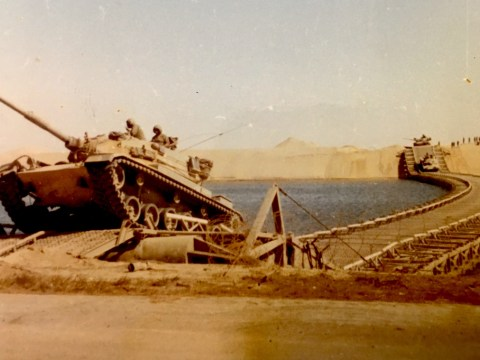 Israeli tanks crossing the Suez Canal