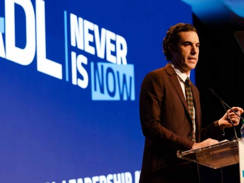 Sacha Baron Cohen speaks at the Anti-Defamation League's Never Is Now conference in New York, Nov. 21, 2019. (Photo/JTA-Jennifer Liseo-ADL)