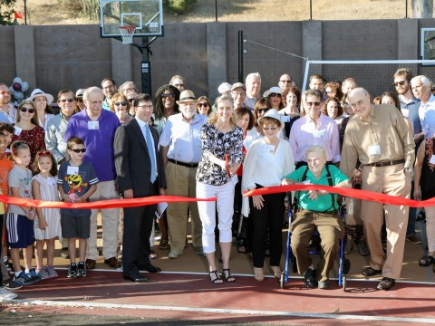 Members of Contra Costa Jewish Day School cut a ribbon on Sept. 15 for the new outdoor recreation and community area. (Contra Costa Jewish Day School)