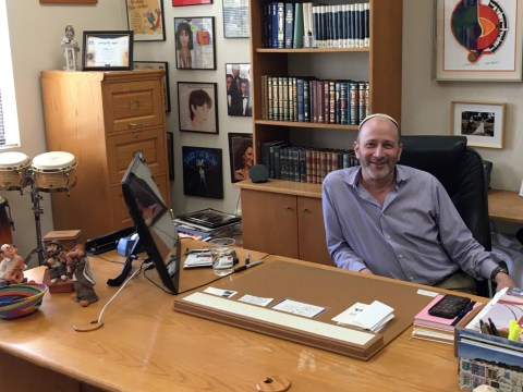 Cantor Doron Shapira in his office at Peninsula Sinai Congregation. (Photo/Gabe Stutman)