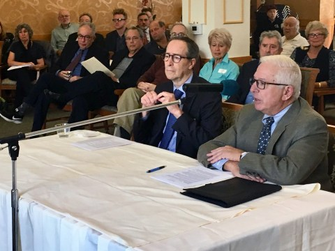 Reutlinger Community President and CEO Jay Zimmer (left) and Board President Jordan Rose at the Nov. 5 hearing about the management agreement between Reutlinger Community and Eskaton. (Dan Pine)