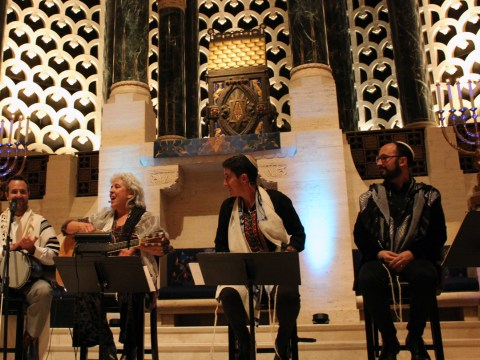 "(From left) Cantor Arik Luck, Cantor Marshe Attie, Rabbi Sydney Mintz and Rabbi Jason Rodich at the 20th anniversary installment of ""Late Shabbat"" at Congregation Emanu-El in S.F., Nov. 9, 2019. (Gabe Stutman)"