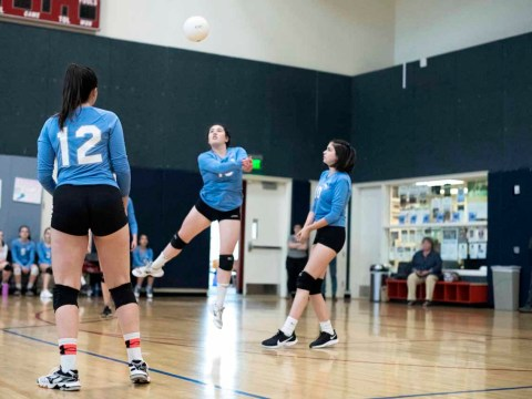Kehillah Jewish High School girls volleyball team in action. (Kehillah Jewish High School)