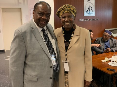 Rabbi Capers Funnye, left, and Martha Leah Williams at the Jewish Africa Conference in New York, Jan. 29, 2019. (JTA/Josefin Dolsten)