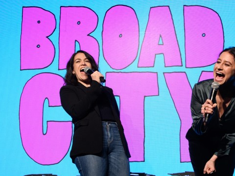 "Abbi Jacobson and Ilana Glazer at an event for their series ""Broad City"" at Sony Hall in New York City, March 27, 2019. (JTA/Dave Kotinsky/Getty Images for Comedy Central)"