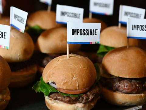 Impossible burgers shown at a media event in Las Vegas, Jan. 7, 2019. (JTA/Robyn Beck/AFP via Getty Images)
