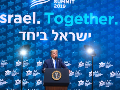 President Donald Trump speaks at the Israeli-American Council's annual conference in Hollywood, Fla., Dec. 7, 2019. (JTA/Noam Galai)