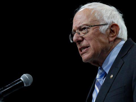 Democratic presidential candidate Sen. Bernie Sanders. (JTA/Joshua Lott/Getty Images)
