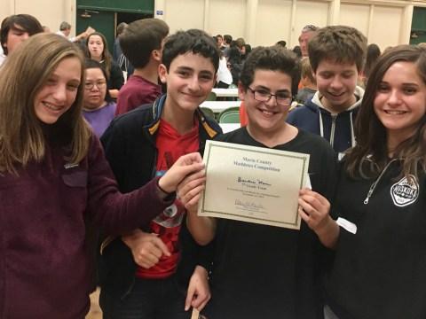 Brandeis Marin's winning mathletes team. (Courtesy Brandeis Marin)