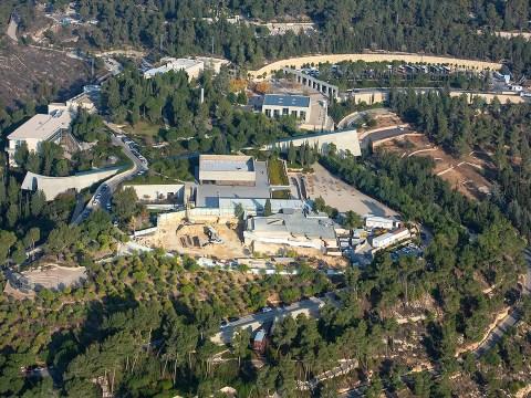 An aerial view of the Yad Vashem Holocaust memorial museum in Jerusalem, Dec. 17, 2019. (JTA/Moshe Shai/Flash90)