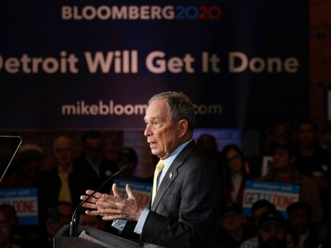 Democratic presidential candidate Mike Bloomberg holds a campaign rally in Detroit, Feb. 4, 2020. (JTA/Bill Pugliano/Getty Images)