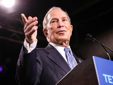 Mike Bloomberg speaks at a campaign rally in Nashville, Tenn., Feb. 12, 2020. (JTA/Brett Carlsen/Getty Images)