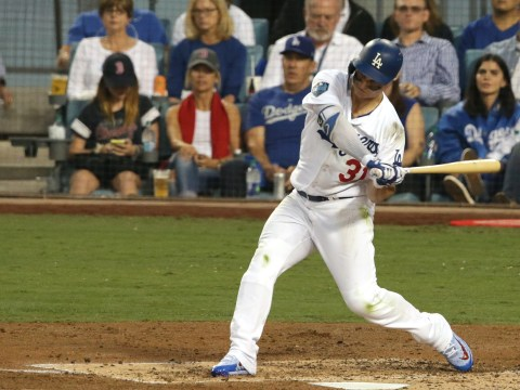Joc Pederson of the Los Angeles Dodgers hits a third-inning homer against the Boston Red Sox in Game 3 of the 2018 World Series at Dodger Stadium in Los Angeles, Oct. 26, 2018. (JTA/Jeff Gross/Getty Images)