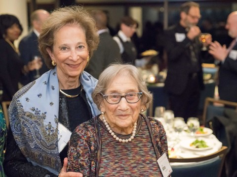 Institute on Aging supporter Lynn Bunim (left) and Rita Semel. (Eric Guarisco)
