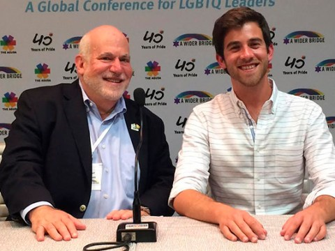 Arthur Slepian (left) shortly before stepping down as director of A Wider Bridge in 2017 with Tyler Gregory, his successor. (FILE)