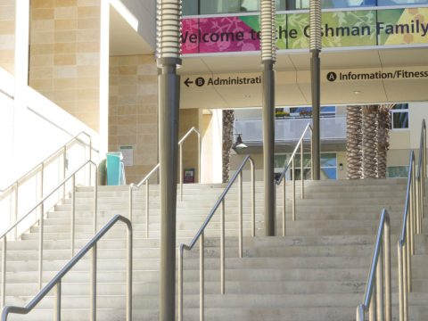 Empty entrance to the Oshman Family JCC in Palo Alto, which closed its facility in March due to the coronavirus pandemic. (Photo/Courtesy OFJCC)