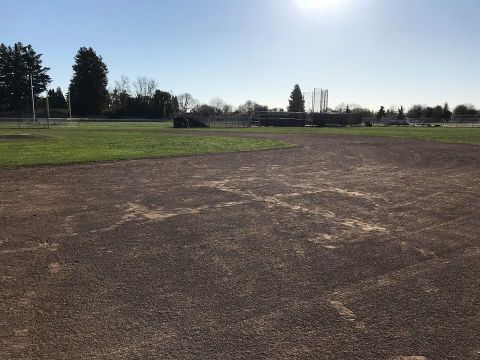 A swastika was discovered March 3 marked in the dirt of an athletic field at Rio American High School in Sacramento. (FACEBOOK/RAHS)